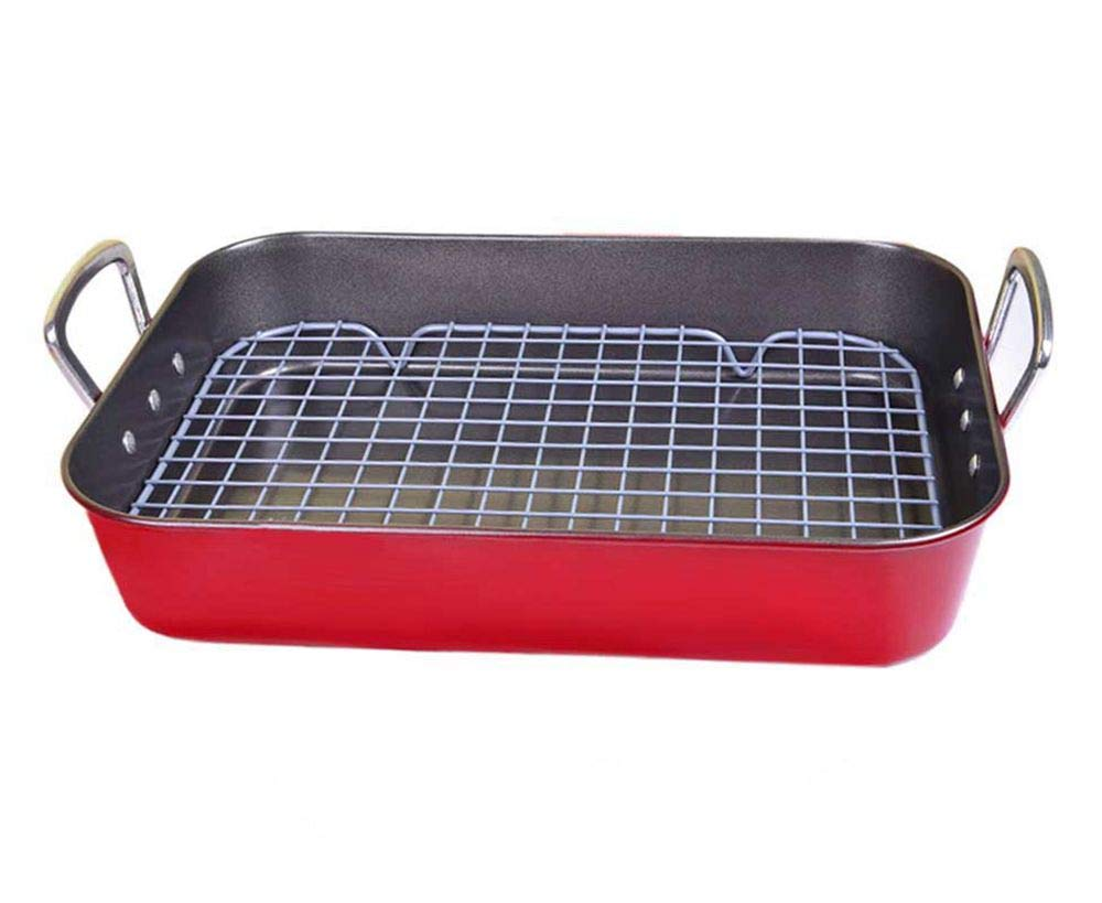 LUFEIYA Roasting Pan with Flat Rack Nonstick 15 inch Red by