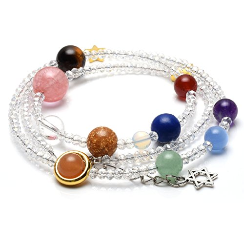 Mm 7 Spacer Star (JOVIVI Natural Multilayer Solar System Bracelet Universe Galaxy The Nine Planets Star Spacer Glass Beads Necklace)