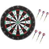 Hey! Play! 18'' Double-Sided Flocking Dartboard with Six 17g Darts