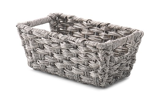 Whitmor Split Rattique Small Shelf Tote-Gray Wash,