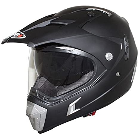 Casco Moto Cross Shiro MX-Tourism 311, Color Negro Mate, (Negro Mate