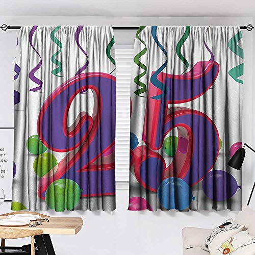 Jinguizi 25th Birthday Curtain for Kids Room Vibrant Birthday Party Set Up Colorful Ribbons and Balloons on The Ground Party Darkening Curtains Multicolor W55 x L39 by Jinguizi (Image #1)