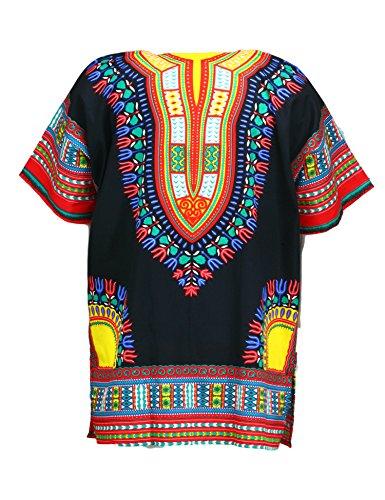 KlubKool Dashiki Shirt Tribal African Caftan Boho Unisex Top Shirt (Black/Red/Yellow,3X-Large) by KlubKool (Image #1)