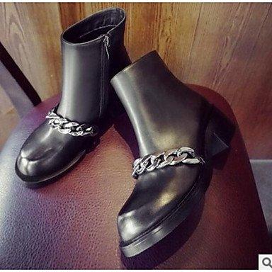 RTRY Zapatos De Mujer Cuero De Nubuck Pu Moda Otoño Invierno Botas Botas Botas De Combate Talón Plano Botines/Botines For Casual Negro Negro Us6 / Ue36 / Uk4 / Cn36 US7.5 / EU38 / UK5.5 / CN38