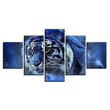 Abstrakte Malerei Für Wohnzimmer Wand Kunst Modulare Bilder 5 Stück Tier  Tiger Poster HD Drucke Moderne