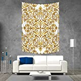 60 Inch Square Ottoman Kitchen Decor Tapestry Wall Tapestry Victorian Golden Lace Antique Baroque Pattern Oriental Ottoman Royal Square Pattern Art Wall Decor 51W x 60L INCH White Gold