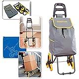 Carrinho de Carga 3 Rodas Sobe Escada Climbing Cart 40Kg GT082 Globalmix, Cinza, Médio