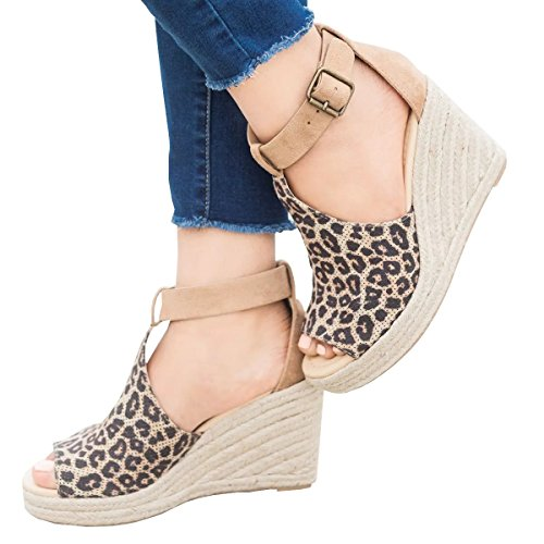 Denim Wedge Sandal - Wedges Shoes for Women Espadrilles High Heels Ankle Strap Open Peep Toe Pinhole Summer Sandals