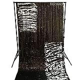DUOBAO Sequin Backdrop 8Ft Black to White Mermaid Sequin Backdrop Fabric 6FTx8FT Two Tone Sequin Curtains