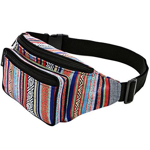 (Kayhoma Boho Fanny Pack Stripe Festival Rave Retro Vintage Bum Bags Travel Hiking Waist Belt)