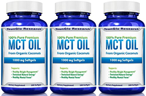 MCT Oil Capsules 100% from Organic Coconuts - 1000 mg 180...