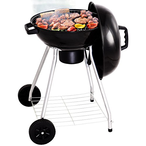lunanice 18.5 Inch Kettle Charcoal Grill BBQ Outdoor Backyard Cooking with Wheels (Kettle Bar B-que Charcoal Cart)