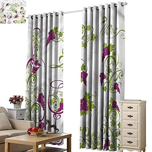 Three Tiffany Light Grapevine - Fakgod Indoor/Outdoor Curtains Wine Bottle Glass Grapevines Curtains for Living Room W84x72L