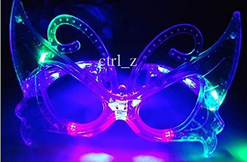1 Pair of LED Flashing Light Up Butterfly Party Glasses Shades (Multi - Butterfly Glasses