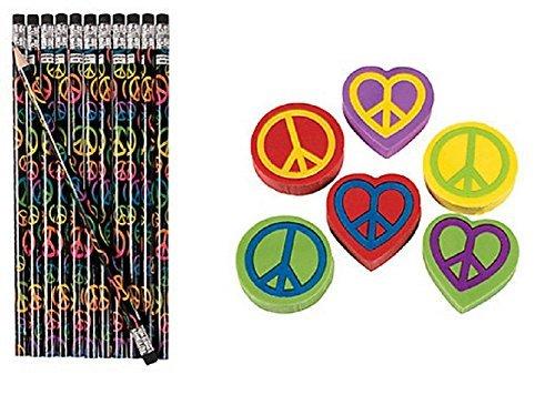 Peace Sign Pencils & Erasers (48 ()