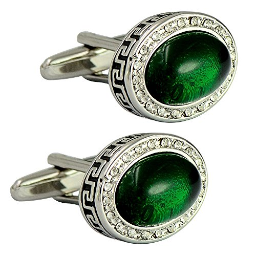 - Oval Emerald Auspicious pattern bullet cufflinks rhinestone elegant cufflinks retro classy cufflinks
