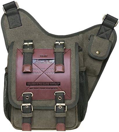 KAUKKO Segeltuch Jahrgang Brusttasche Männer Frauen Reise Wandern Schultertasche (Armee-Grün)