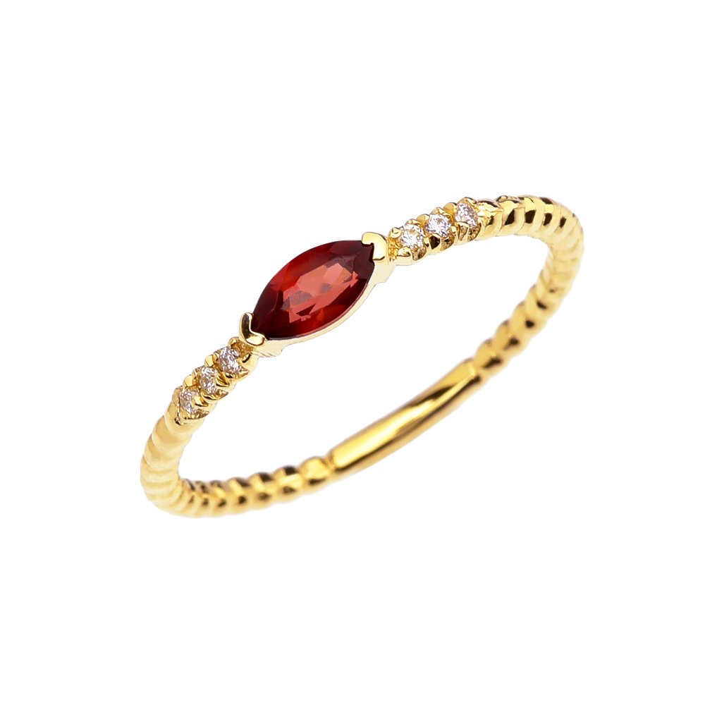 14k Yellow Gold Dainty Diamond and Marquise Garnet Beaded Stackable/Promise Ring(Size 6.75)