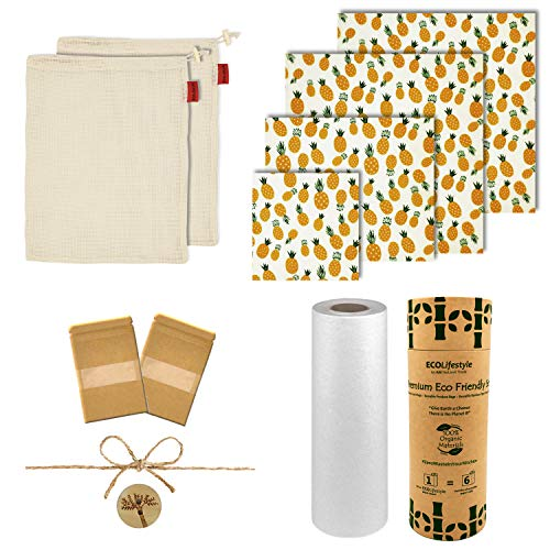 Zero Waste Upgraded Kit - 4 Reusable Beeswax Food Wrap + 2 Cotton Mesh Produce Bag Bundle + 1 Bamboo Reusable Paper Towels +3 Bonus | Eco Friendly Products Sustainable Bees Wraps Wax Food Storage Bags