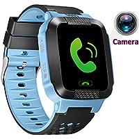 1.44inch Touch Kids cámara GPS Tracker Smart Watch con SIM llamadas Anti-lost SOS muñeca reloj pulsera inteligente para los niños las niñas niños Finder Seguridad Monitor linterna, Azul