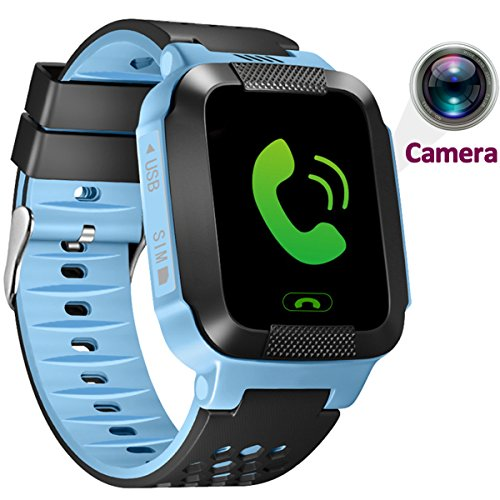 1.44 inch Touch Kids GPS Tracker Smart Watch with Camera SIM Calls Anti-lost SOS Wrist Watch Smart Bracelet for Children Girls Boys Finder Safety Monitor Flashlight (Blue)