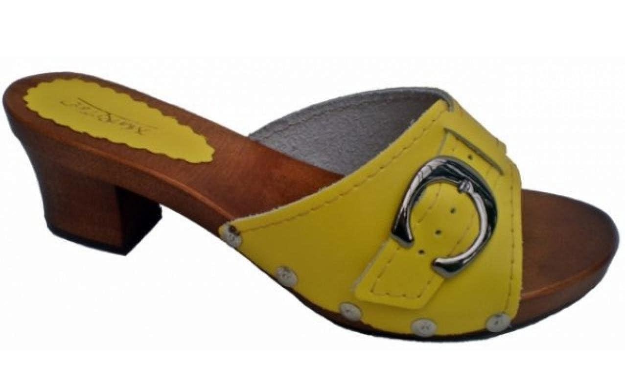 'Marited' Zuecos de cuero mujer sandalias de cuero Amarillo