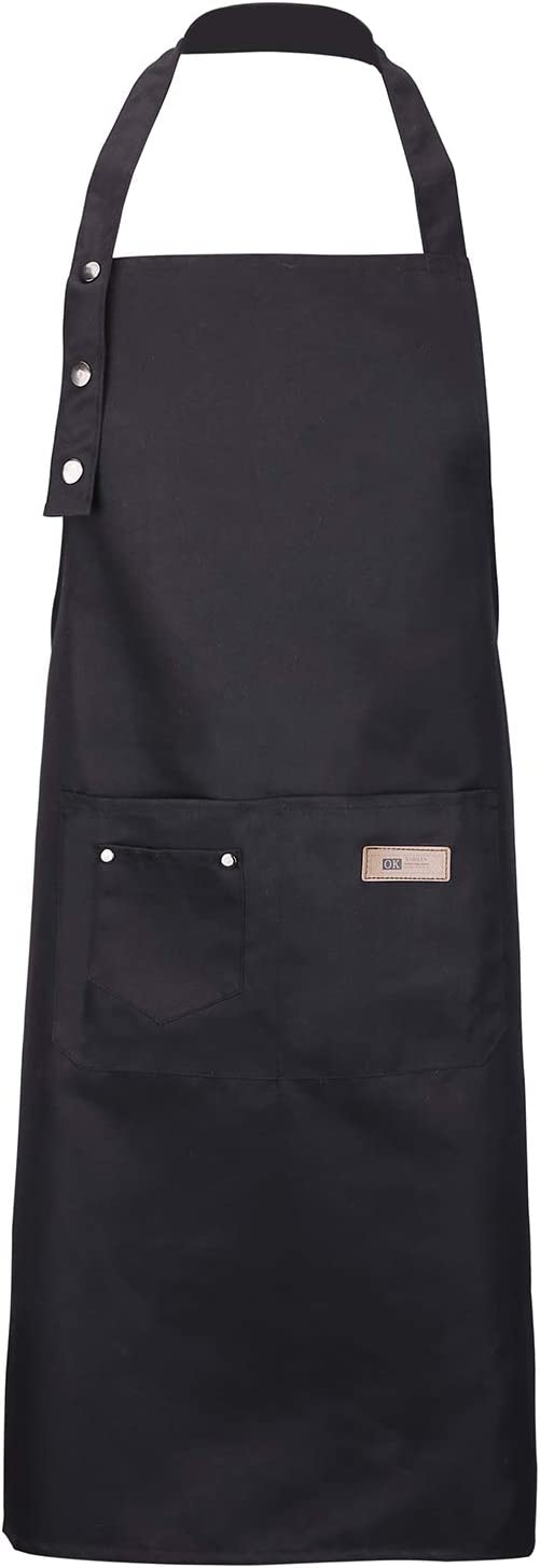 YURILIFE Soft Cotton Linen Kitchen Apron with Pocket for Women and Men Professional Cooking Apron Chef Designed  A   Black   XL