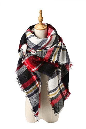 (Spring Fever Large Tartan Fashion Women Scarf Lovely Best Gift Scarf Wrap Shawl F Red)