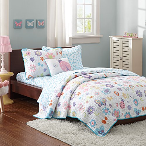 (Mi Zone kids - Fluttering Farrah Complete Quilted Coverlet And Sheet Set - White, Blue, Purple - Twin - Floral Print - Includes 1 Coverlet, 1 Pillowcase, 1 Sham, 1 Pillow, 1 Fitted Sheet, 1 Flat Sheet)