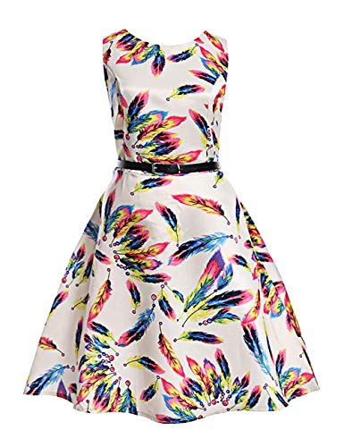 (MOREMOO Girls Sleeveless Retro Vintage Floral Print Swing Party Dress(Pattern-8 6-7)