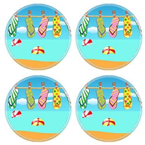 Liili Round Coasters Non-Slip Natural Rubber Desk Pads IMAGE ID: 8976183 colorful flip flops hanged on a rope