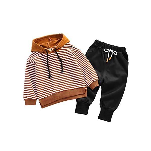 Nwada Abbigliamento Bambino Completi e Coordinati Tuta Sportivi Vestiti a Righe Set Camicia con Cappuccio e Pantaloni 1