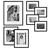 Gallery Perfect 7 Piece Black Wood Photo Frame Wall Gallery Kit. Includes: Frames, Hanging Wall Template, Decorative Art Prints and Hanging Hardware