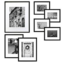 GALLERY PERFECT 7 Piece Black Wood Photo Frame Wall Gallery Kit #14FW1017. Includes: Frames, Hanging Wall Template, Decorative Art Prints and Hanging Hardware