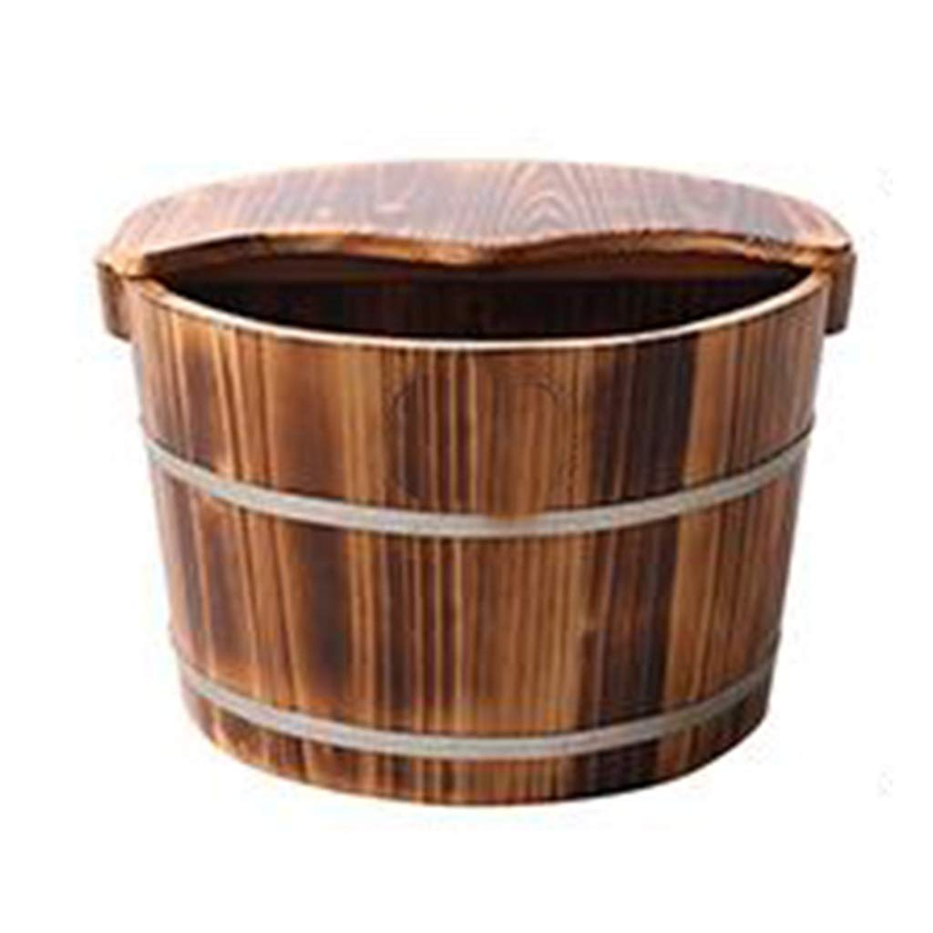 Foot Bath Tub, Household Wooden Barrel, 24CM High Steamed Foot Artifact with Cover Foot Bath Barrel (Size : Covered)