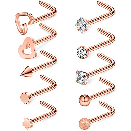 Ruifan 10PCS 20G 316L Surgical Steel 2mm 3mm 4mm Top Flat Ball Heart Star Clear CZ Curved Nose Stud Ring L Shaped Piercing Jewelry - Rose Gold