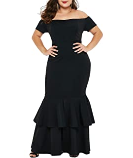 5ca3d2d8ff4 Lalagen Womens Off Shoulder Bodycon Ruffle Mermaid Plus Size Party Maxi  Dress