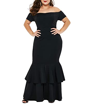 f8709477bfc0f Lalagen Womens Off Shoulder Bodycon Ruffle Mermaid Plus Size Party Maxi  Dress Black XL