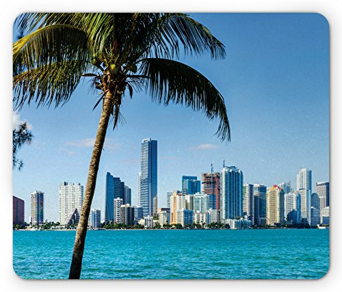 Lunarable Coastal Mouse Pad, Miami Downtown with Biscayne Bay Buildings and Palm Tree Panoramic Art, Standard Size Rectangle Non-Slip Rubber Mousepad, Sky Blue Aqua Green