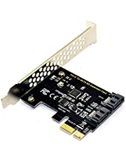 BEYIMEI PCIe SATA Card 2 Port, PCI-E to SATA Expansion Card,6Gbps PCI-E (2X 4X 8X 16X) SATA 3.0 Controller Card for Windows10/8/7/XP/Vista/Linux,Support SSD and HDD