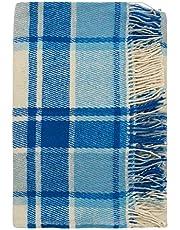 Cozy Blankets | 100% wełna nowozelandzka | niebiesko biały | design w szkocką kratę | 140x200cm & 170x200cm (170x200)