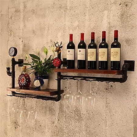 Estantería de vino Almacenamiento de madera champán pared portavasos copa de vino botella de vino estante de la pared estante Estantes de cocina doble 120x20x50cm, bar, restaurante estante de vino peq