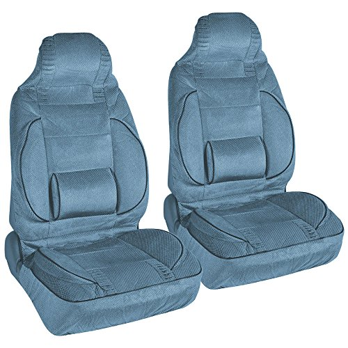 BackSaver Cushioned Comfort - Set of 2 High Back Seat Covers with Built-in Lumbar Support • Blue •