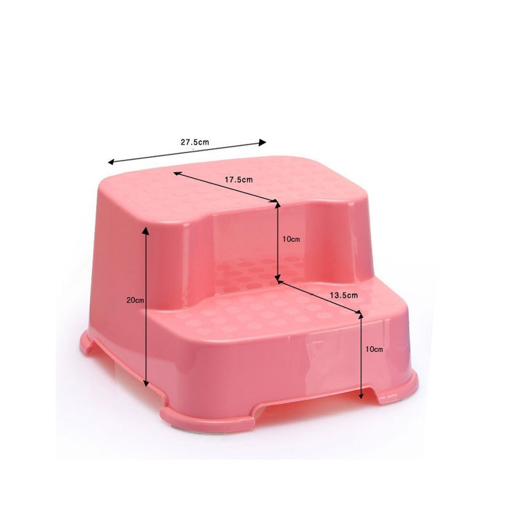 dingdangbell Baby Kids Extra-Wide Extra-Tall Jumbo Step Stool with Non-Slip Caps Pink
