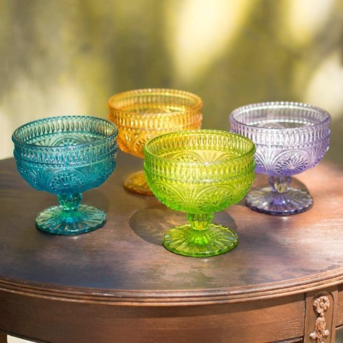 One Hundred 80 Degrees, Assorted Color, Stemmed Bowls, 3.5 in.