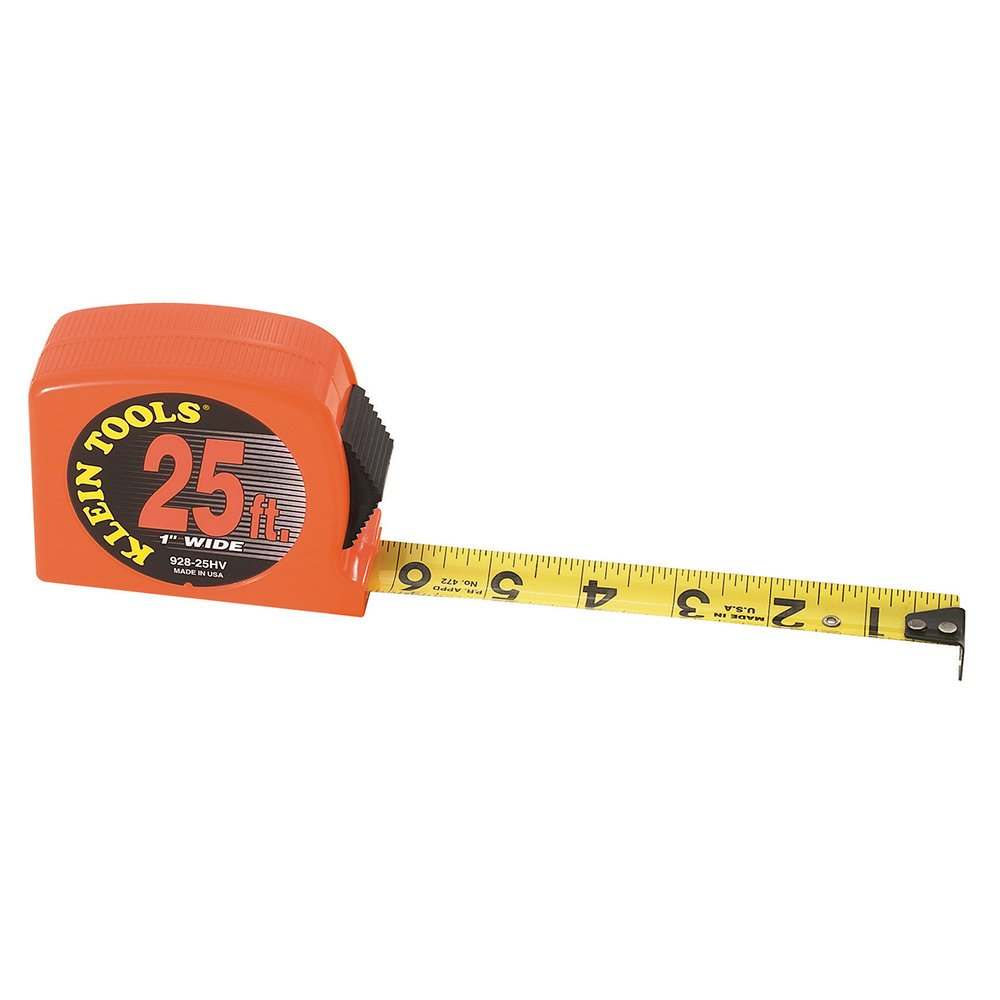 Klein Tools 928-25HV 25-Feet by 1-Inch High-Visibility Case Power-Return Steel Tape Measure