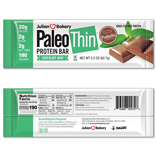 Paleo Protein Bar® (Chocolate Mint) 12 Bars in Single Box (20g Grass-Fed Beef) (2 Net Carbs) w/Organic Prebiotics