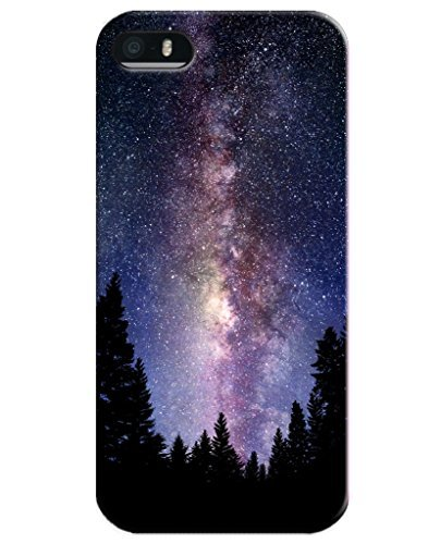 Cases for iPhone 5 5S, UKASE Phone Case Skins with Magic Heaven Pattern Print of Beautiful Sky Night and Trees (Magic 5s Phone Case I Mobile)