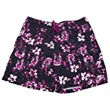 Speedo Mens Patterned Beach Wear Shorts (no lining) (S 32inch Waist (80cm)) (Black and Pink Floral)
