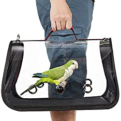 Colorday Lightweight Bird Carrier, Bird Travel cage Parrot (Medium 16 x 9 x 11, Red)